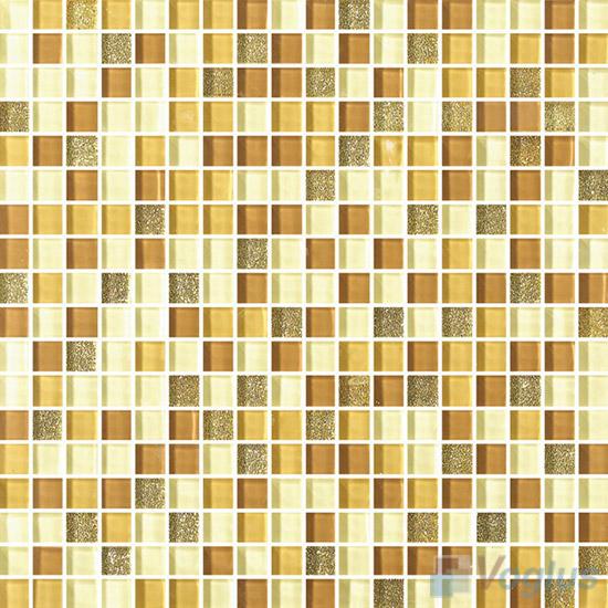 Yellow Row 15x15mm Gold Leaf Glass Mosaic VG-GFA93