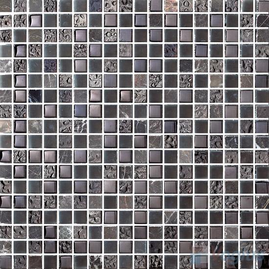 15x15mm Rough Metal Plated Glass Mosaic Tiles VG-PTA88