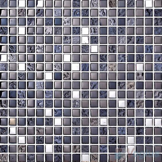 15x15mm Rough Metal Plated Glass Mosaic Tiles VG-PTA89