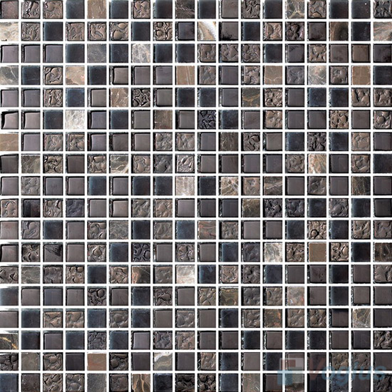 15x15mm Rough Metal Plated Glass Mosaic Tiles VG-PTA90