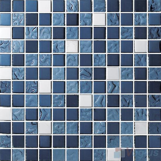 1x1 Rough Metal Plated Glass Mosaic Tiles VG-PTB88