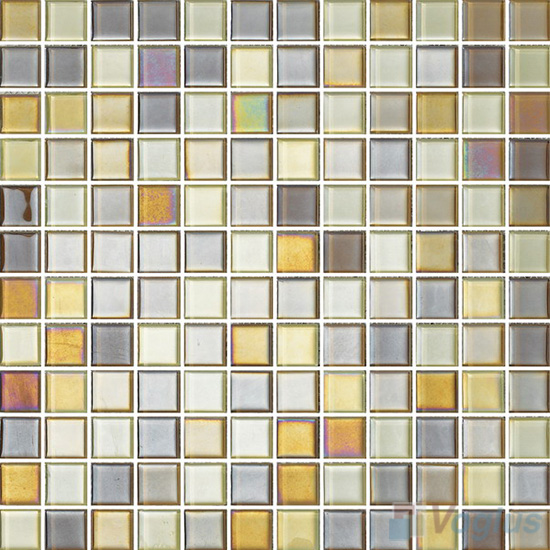 1x1 Rough Metal Plated Glass Mosaic Tiles VG-PTB90