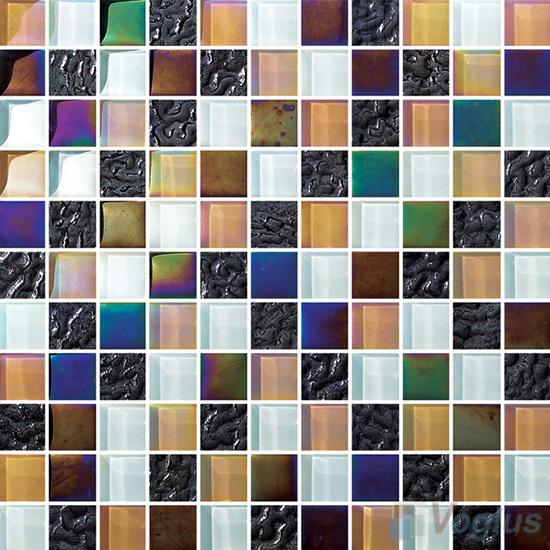 1x1 Rough Metal Plated Glass Mosaic Tiles VG-PTB91