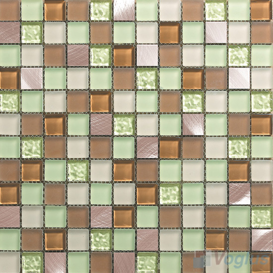 Air Fresh 1x1 Glass Mix Aluminum Mosaic Tiles VB-GMN99