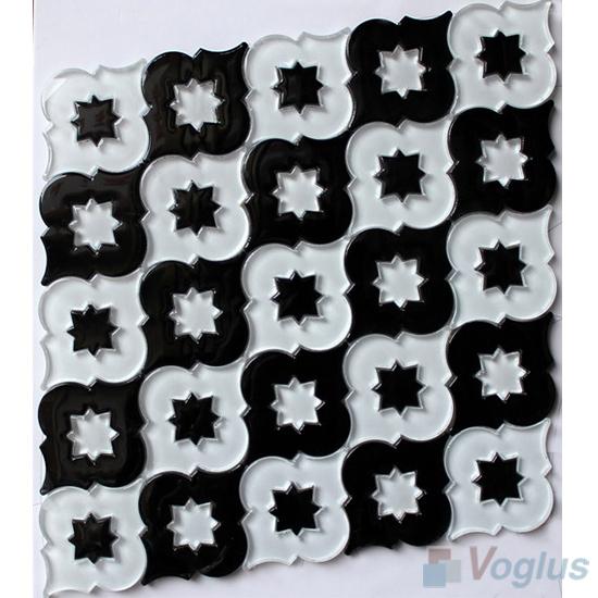 Black White Flower Core Water Jet Glass Tile Mosaic VG-UWJ94