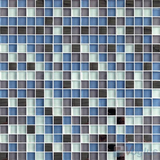 Blue 15x15mm Glass Metal Mix Mosaic Tile VB-GMA95