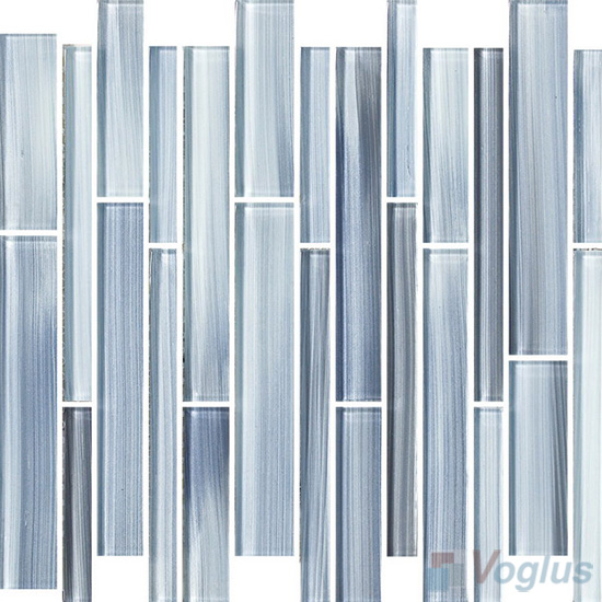 Blue-gray Linear Hand Painted Glass Mosaic Tiles VG-HPL91