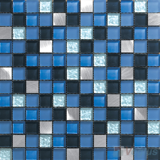 Blue Master 1x1 Glass Mix Aluminum Mosaic Tiles VB-GMN94