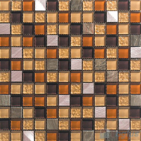Browny 1x1 Glass Mix Aluminum Mosaic Tiles VB-GMN97