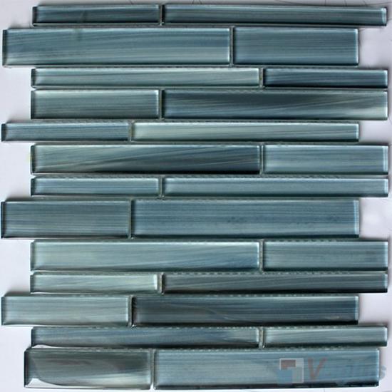Carolina Blue Linear Hand Painted Glass Mosaic Tiles VG-HPL99