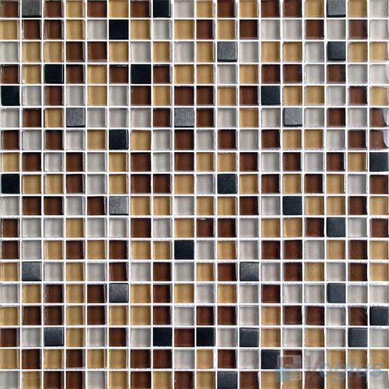 Chocolate 15x15mm Glass Metal Mix Mosaic Tile VB-GMA93