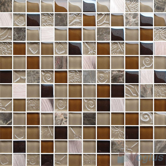 Coffee 1x1 Glass Mix Aluminum Mosaic Tiles VB-GMN91