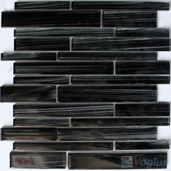 Dark Gray Linear Hand Painted Glass Mosaic Tiles VG-HPL94