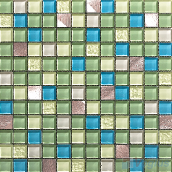 Ecoland 1x1 Glass Mix Aluminum Mosaic Tiles VB-GMN95
