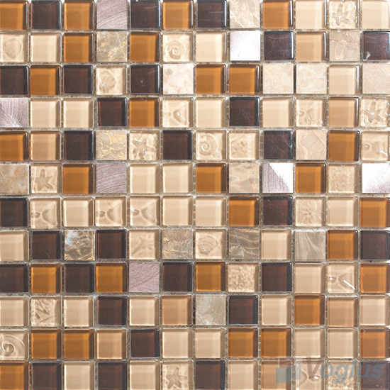 Elegancy 1x1 Glass Mix Aluminum Mosaic Tiles VB-GMN98