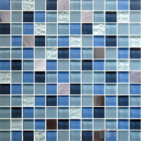 Festaco 1x1 Glass Mix Aluminum Mosaic Tiles VB-GMN92