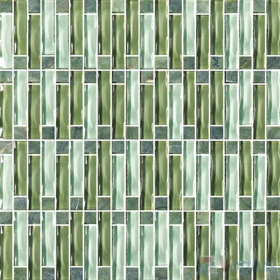 Green Arch Wavy Tile Crystal Glass Mosaic VG-UWP99
