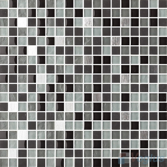 Grey Pine 15x15mm Glass Metal Mix Mosaic Tile VB-GMA90