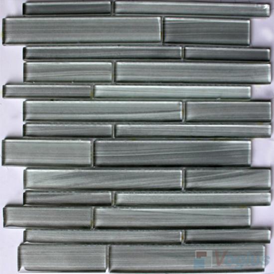 Light Gray Linear Hand Painted Glass Mosaic Tiles VG-HPL98