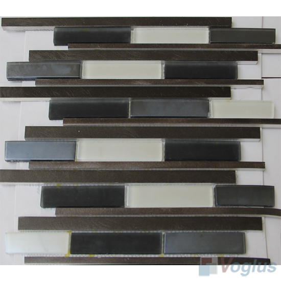 Linear Glass Metal Mosaic Tiles VB-GMH91