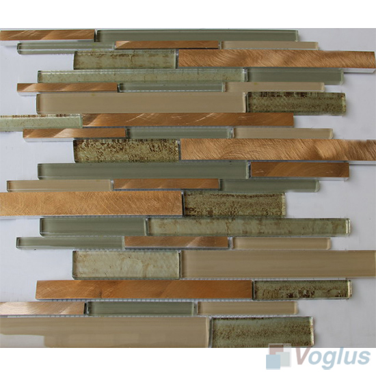 Linear Glass Metal Mosaic Tiles VB-GMH92