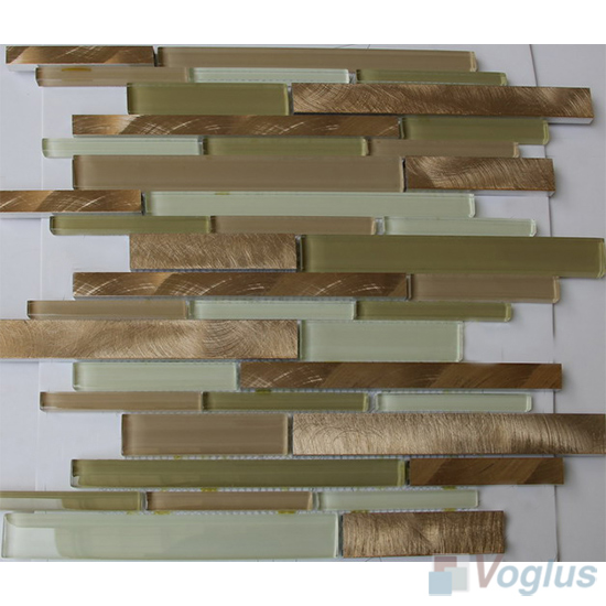 Linear Glass Metal Mosaic Tiles VB-GMH93