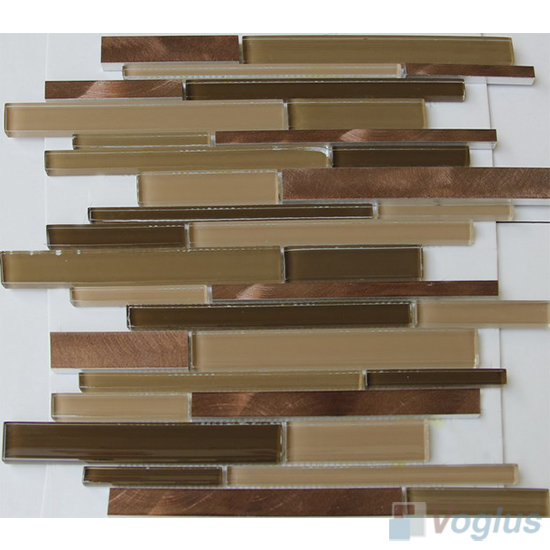 Linear Glass Metal Mosaic Tiles VB-GMH95