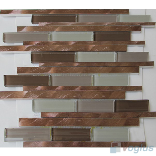 Linear Glass Metal Mosaic Tiles VB-GMH96