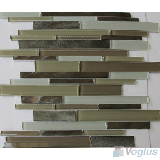 Linear Glass Metal Mosaic Tiles VB-GMH97