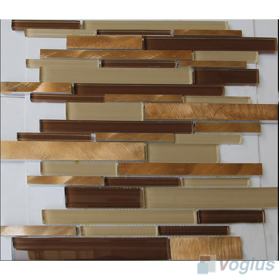 Linear Glass Metal Mosaic Tiles VB-GMH99