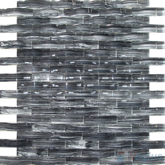 Medium Gray Arch Wavy Painting Glass Mosaic VG-UWY87