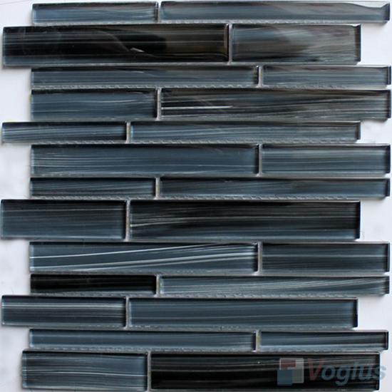 Medium Gray Linear Hand Painted Glass Mosaic Tiles VG-HPL96