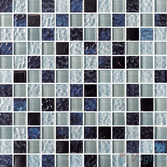 Night Star 1x1 Glass Mix Aluminum Mosaic Tiles VB-GMN90