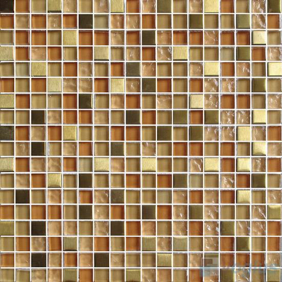 Ochre 15x15mm Glass Metal Mix Mosaic Tile VB-GMA91