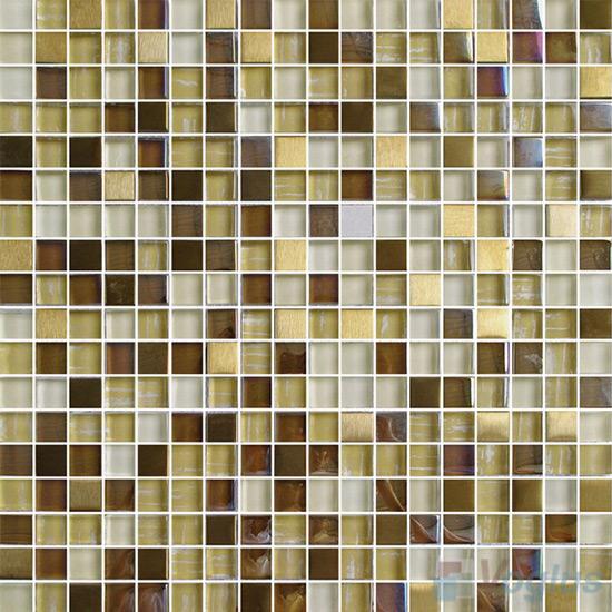 Olive 15x15mm Glass Metal Mix Mosaic Tile VB-GMA94
