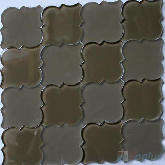 Olive Lantern Shape Water Jet Glass Tile Mosaic VG-UWJ95