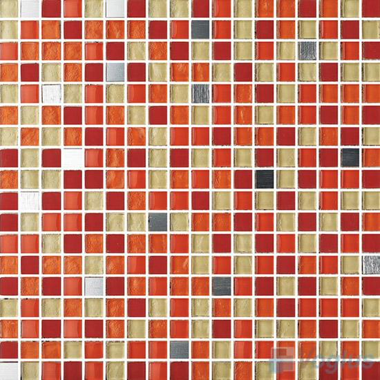 Orange 15x15mm Glass Metal Mix Mosaic Tile VB-GMA92