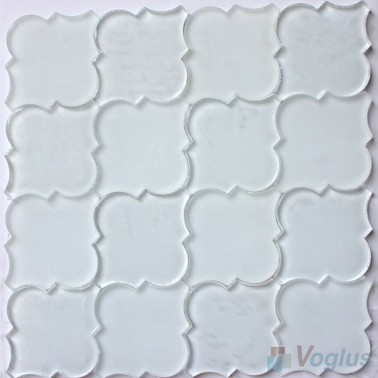 Pure White Lantern Shape Water Jet Glass Tile Mosaic VG-UWJ96