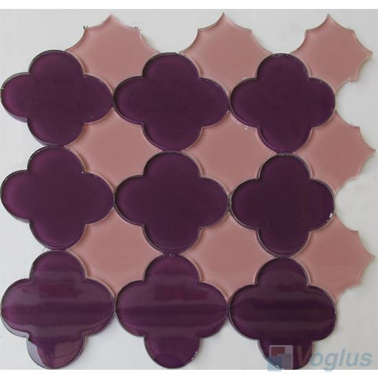 Purple Flower Shape Water Jet Glass Tile Mosaic VG-UWJ97
