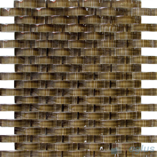 Sepia Brown Arch Wavy Painting Glass Mosaic VG-UWY86