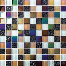 1x1 Rough Metal Plated Glass Mosaic Tiles VG-PTB91