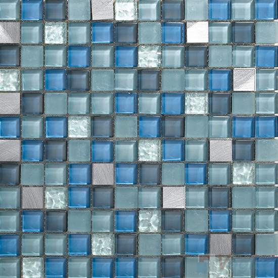 Wendy 1x1 Glass Mix Aluminum Mosaic Tiles VB-GMN96
