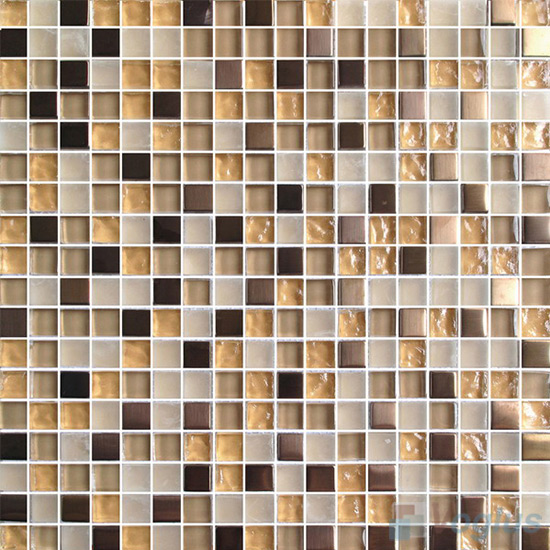 Wheat Chart 15x15mm Glass Metal Mix Mosaic Tile VB-GMA89