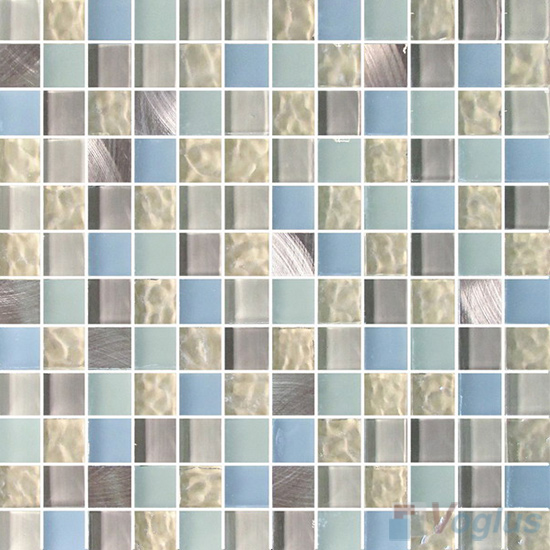 Whisper 1x1 Glass Mix Aluminum Mosaic Tiles VB-GMN93