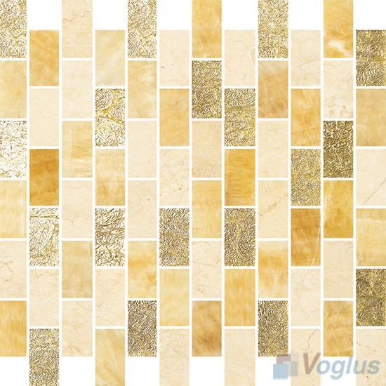 1x2 Subway Brick Glass Stone Mixed Mosaic VB-GSD98