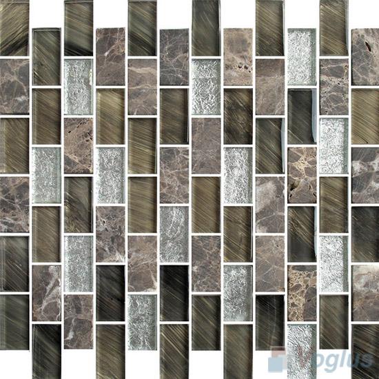 1x2 Subway Brick Glass Stone Mixed Mosaic VB-GSD99