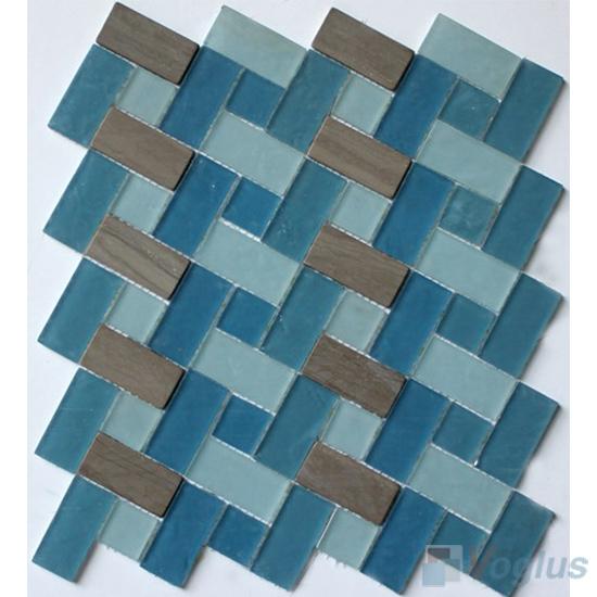Blue Navy Pinwheel Glass Tile Mix Stone Mosaic VB-GSW99