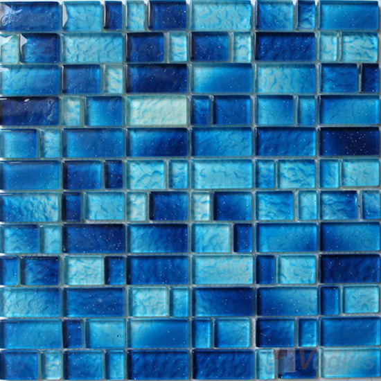 Blue Wavy Helicopter Hand Painted Glass Mosaic VG-HPV88