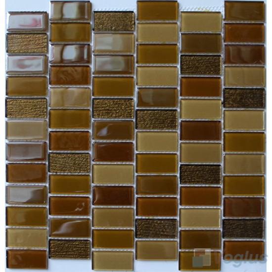 Bronze 1x2 Interstream Crystal Glass Mosaic VG-CYW96