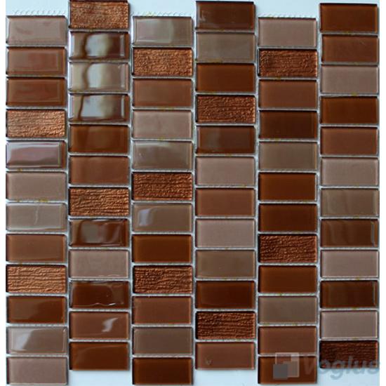 Browny 1x2 Interstream Crystal Glass Mosaic VG-CYW94